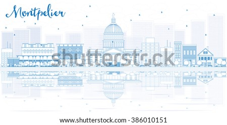 Outline Montpelier skyline with blue buildings and reflections. Business travel and tourism concept with place for text. Image for presentation, banner, placard and web site. - stock photo