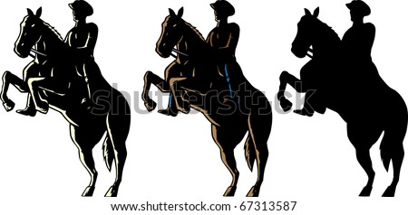 Outline of a cowboy and his horse. - stock photo