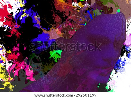 Outline of a profile of a woman with closed eyes in violet with thoughts as splashes of bright paint coming out of her head. Digital art collage