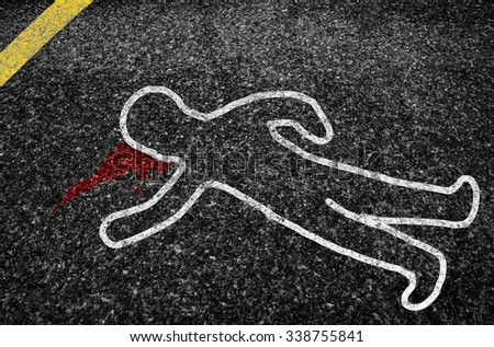 outline of a road accident victim. - stock photo