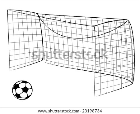 Outline of a Soccer gate and a ball