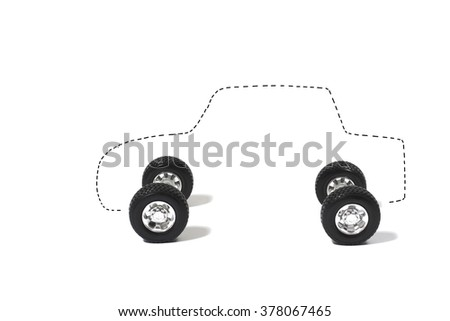 Outline of Car and Four Tires on a White Background
