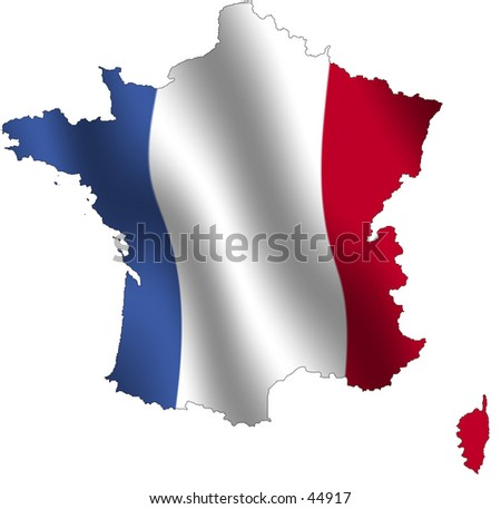 Outline of France, fileld with its waving flag - stock photo