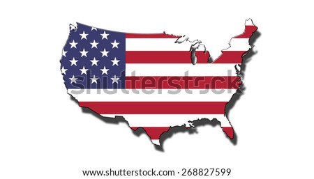 Outline of national boundary of United States of America filled with USA flag. Isolated on white background and dropping a shadow - stock photo