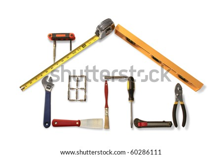 Outline of residential home made with common household and construction tools. - stock photo