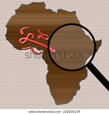 Outline of the African continent with a magnifying glass looking at Ebola virus close up. Red virus on brown background. Lined paper background effect. - stock photo