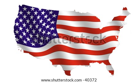 Outline of the usa (48 states), filled with a  waving stars and stripes.