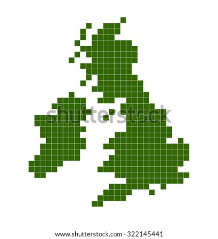 Outline of UK map using green squares - stock photo