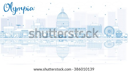 Outline Olympia skyline with blue buildings and reflections. Business travel and tourism concept with place for text. Image for presentation, banner, placard and web site. - stock photo