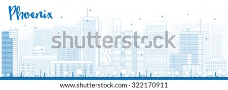 Outline Phoenix Skyline with Blue Buildings. Business travel and tourism concept with modern buildings. Image for presentation, banner, placard and web site. - stock photo