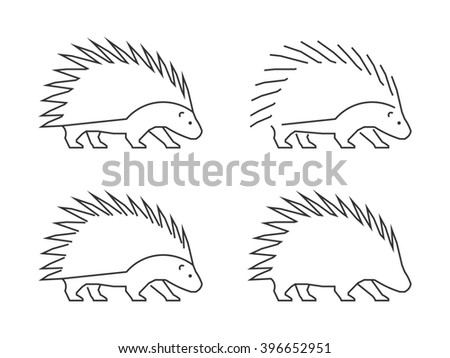 Outline porcupine on a white background. Silhouette porcupine. Modern hedgehog icon. - stock photo