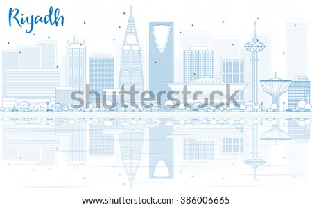 Outline Riyadh skyline with blue buildings and reflections. Business travel and tourism concept with place for text. Image for presentation, banner, placard and web site. - stock photo