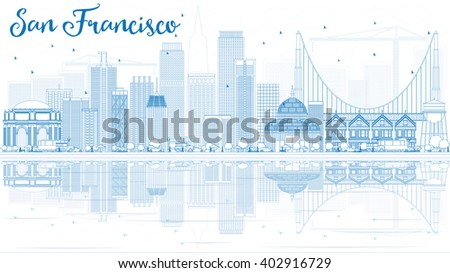 Outline San Francisco Skyline with Blue Buildings and Reflection. Business Travel and Tourism Concept with Modern Buildings. Image for Presentation Banner Placard and Web Site. - stock photo