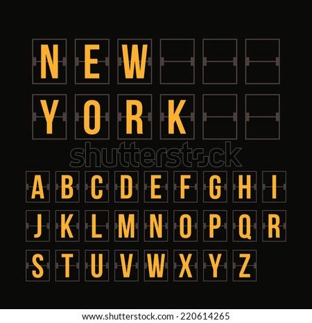 Outline scoreboard letters and symbols flat alphabet mechanical panel - stock photo