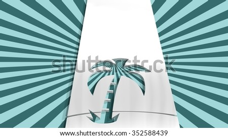 outline silver palm icon on sun rays backdrop. image relative to sea traveling - stock photo