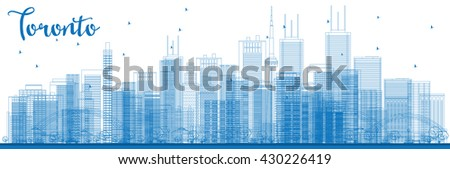 Outline Toronto skyline with blue buildings. Business travel and tourism concept with modern buildings. Image for presentation, banner, placard and web site. - stock photo