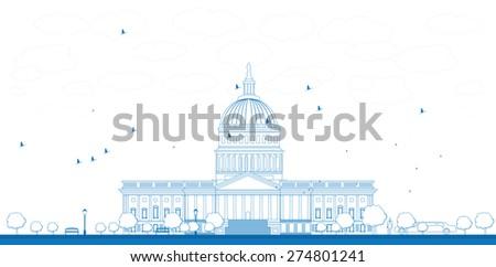 Outline Washington DC Capitol landscape, USA - stock photo