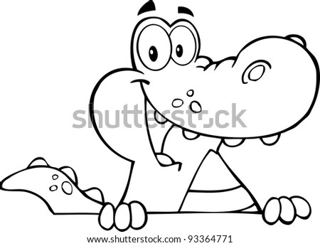 Outlined Alligator Or Crocodile Over A Sign - stock photo