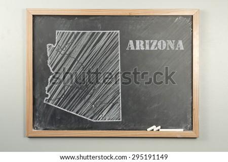 Outlined Arizona US state on grade school chalkboard - stock photo