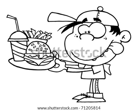 Outlined Boy With Fast Food - stock photo