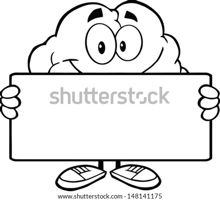 Outlined Brain Cartoon Character Holding A Banner. Vector version also available in gallery - stock photo