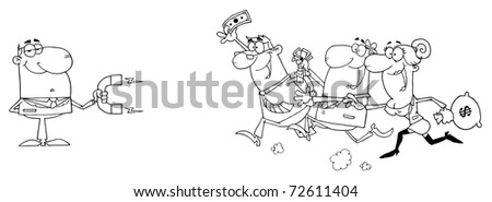 Outlined Businessman Using A Magnet Attracts People With Money - stock photo