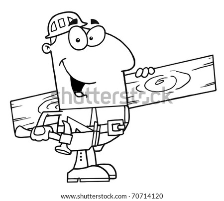 Outlined Carpenter With Wood - stock photo