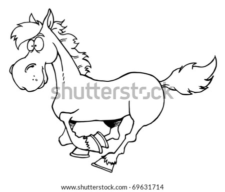 Outlined Cartoon Horse Running - stock photo