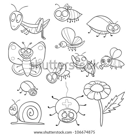 Outlined cute cartoon insects for coloring book (raster version) - stock photo