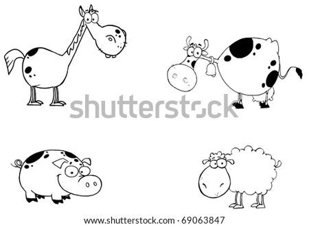 Outlined Farm Animals Cartoon Characters Set - stock photo