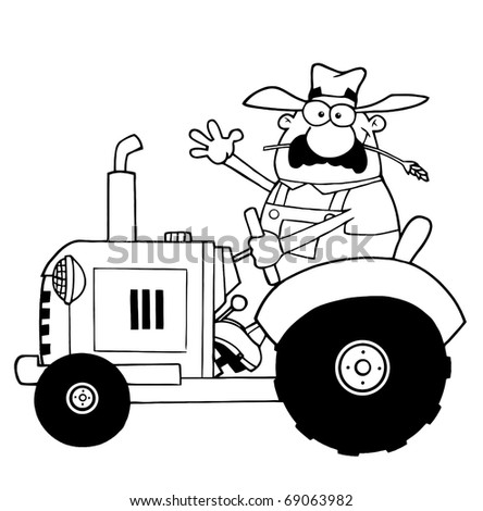 Outlined Farmer Waving And Driving A Tractor - stock photo