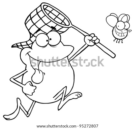 Outlined Frog Chasing Fly With A Net - stock photo