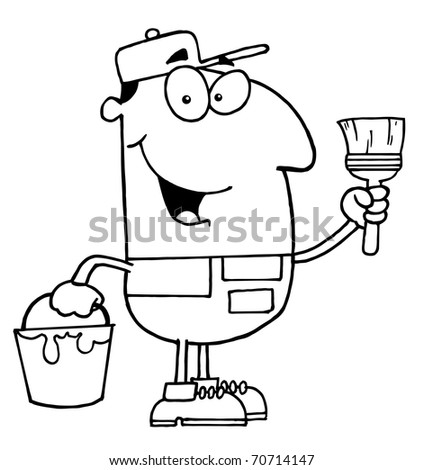 Outlined House Painter - stock photo