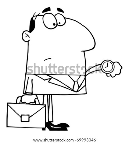 Outlined Office Worker Watching The Clock - stock photo