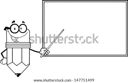 Outlined Smiling Pencil Teacher Character With A Pointer In Front Of Chalkboard. Vector version also available in gallery