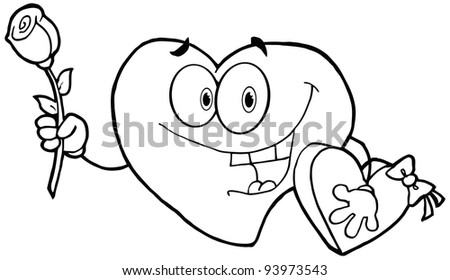 Outlined Sweet Red Heart Man Carrying Chocolates And A Rose .Vector version is also available - stock photo