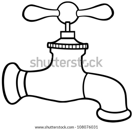 Outlined Water Faucet. Raster Illustration.Vector version also available in portfolio. - stock photo