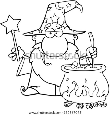 Outlined Wizard Waving With Magic Wand And Preparing A Potion. Raster Illustration.Vector Version Also Available In Portfolio. - stock photo