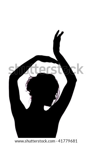 Outlines of a beautiful young woman on white background - stock photo