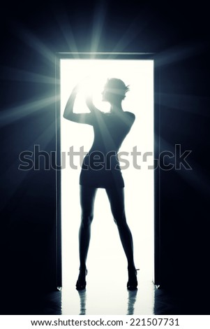 Outlines of a beautiful young woman standing by a door