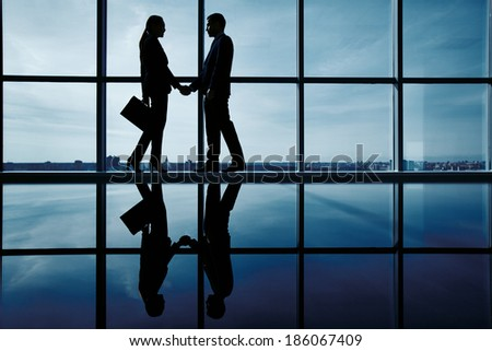Outlines of two business partners handshaking by the window