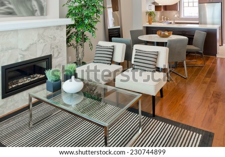 Outlook at the luxury modern living suite : two modern chairs with nicely decorated coffee table and dining room and kitchen at the back Interior design of a brand new house. - stock photo