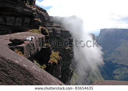 Outlook Roraima Table Mountain, Venezuela - stock photo
