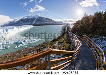 Outlook stairs in the beautiful Perito Moreno National Park in El Calafate, Patagonia, Argentina - stock photo