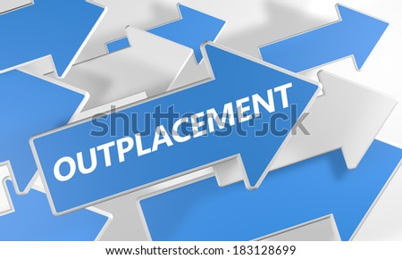 Outplacement 3d render concept with blue and white arrows flying over a white background. - stock photo