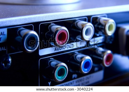 Output connectors on the back of a DVD player - stock photo