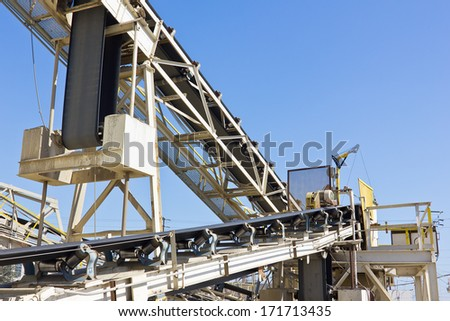 Outside conveyor belt is used for construction.