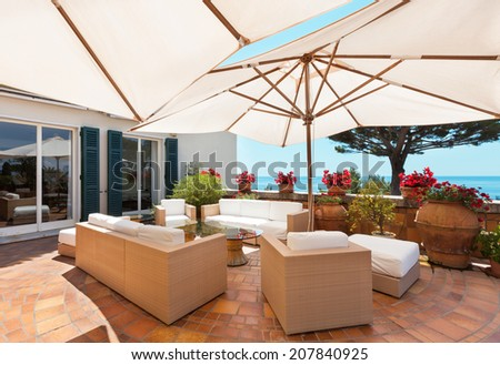 outside exterior with sea view from terrace  - stock photo