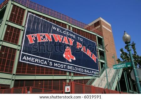 Outside of Boston's Fenway Park. - stock photo