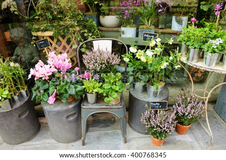 Outside of French flowers shop. - stock photo